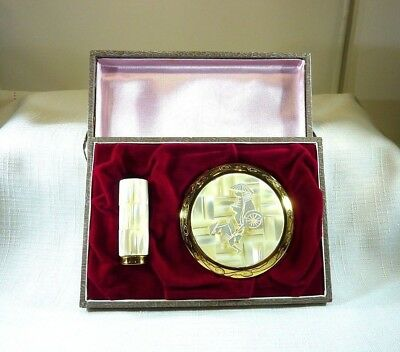 Vintage Mother Of Pearl Inlay Mirror Powder Compact & Lipstick Holder & Box
