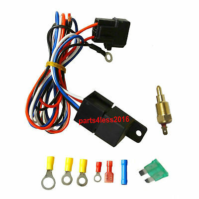 Universal 30 AMP Cooling Relay Wiring Kit &Temperature Control For Thermo Fans