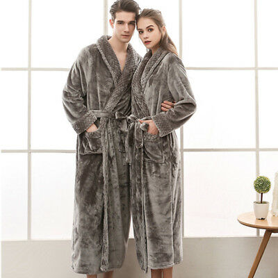 Mens Womens Luxurious Supersoft Bathrobe Coral Fleece Bath Robe Dressing Gown
