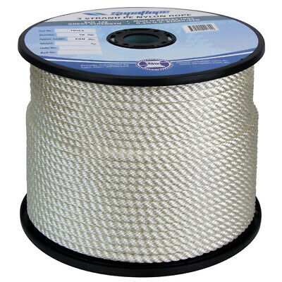 NEW 10mm x 200Mtr 3 Strand Nylon Rope White (Reel) from Blue Bottle Marine
