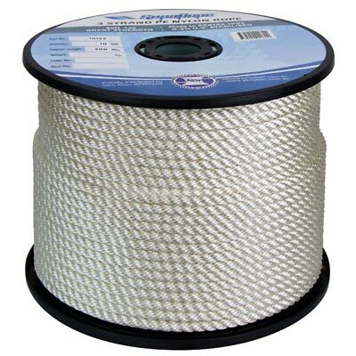 NEW 24mm x 100Mtr 3 Strand Nylon Rope White (Reel) from Blue Bottle Marine