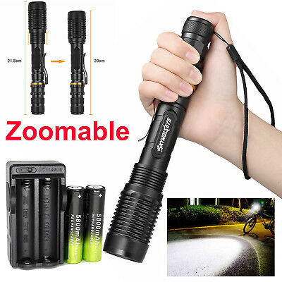 Zoomable 50000LM High Power T6 LED Flashlight Focus Torch 18650 Battery Charger