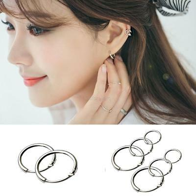 3 Pairs Round Small Sleeper Hoops Earrings Hoop 8mm 10mm 12mm Fashion Silver