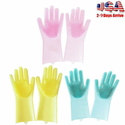 1 Pair Magic Silicone Cleaning Brush Scrubber Gloves Heat Resistan