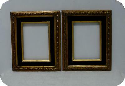 PAIR SHABBY VTG GOLD GILT WOOD PICTURE FRAMES w HUNTER GREEN VELVET MAT