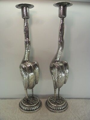 Pair of Kutch INDIAN c1900 Solid Silver CRANE Candlesticks 650 GRAMS
