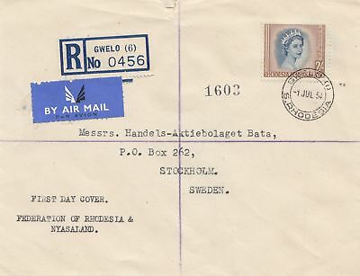 Rhodesia: 1954: Registered Gwelo to Stockholm - FDC