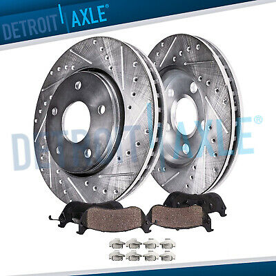 Front Drilled Slotted Brake Rotors Ceramic Pad for Ford Explorer Flex Taurus MKT