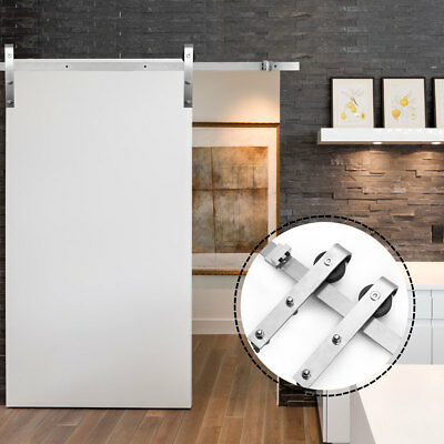 6.6FT Modern Stainless Steel Sliding Barn Wood Door Closet Hardware Track Set