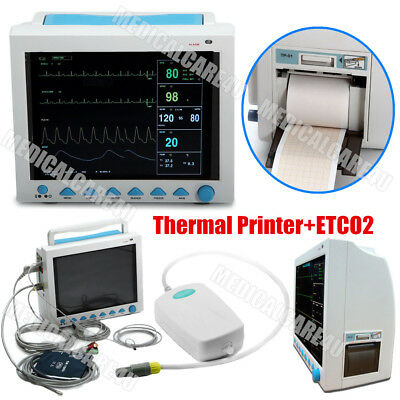 ICU Patient Monitor Vital Signs ECG Cardiac Monitor Printer/Capnograph/Stand/Bag