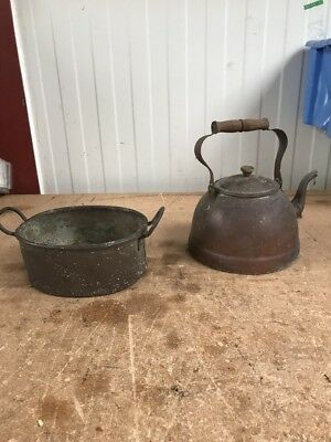 Vintage Copper Kettle And Pan