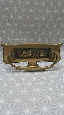 Antique Brass Letter Box Plate with Door Knocker / Mail Slot / Mailbox