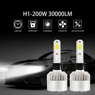 H1 CREE LED 200W 30000LM Car Headlight Kit Beam Driving Light 6500K White LD1031