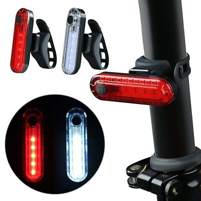 USB Rechargeable Bike Bicycle LED Flash Rear Tail Clip Light Cycling Safety Lamp