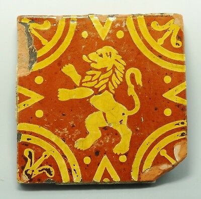 17Th/18Th Century Glazed Tile Depicting Rampant Lion (422G)