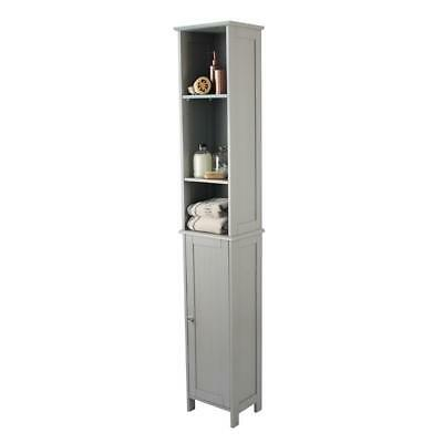 Grey Tallboy Cabinet Cupboard Storage Unit Bathroom Bedroom Home