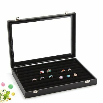 Wuligirl 7 Slots Velvet Ring Display Box Storage Jewelry Boxes Stackable Glass
