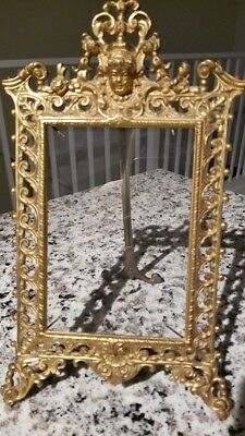 ANTIQUE GOLD GILT Heavy Ornate METAL PICTURE FRAME & GLASS 4 X 6 picture VINTAGE