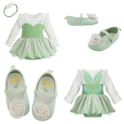 Disney Store Tinkerbell Baby Bodysuit Costume Dress Shoes Wings Fairy Princess