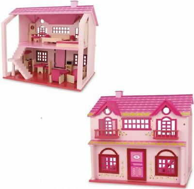 Large Deluxe Pink Wooden Dolls House Furniture Playset Toy Accessories Xmas Gift