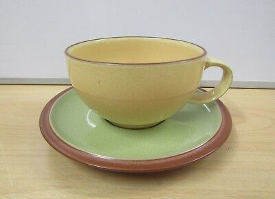 DENBY Juice - Set of 3 Cups & Saucers - Green & Yellow - Stoneware
