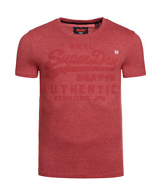 Neues Herren Superdry Vintage Authentic Top Grit Tag Rot