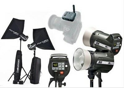 Elinchrom BX 500 Ri studio flash kit. 2X Heads, case, softboxes, leads