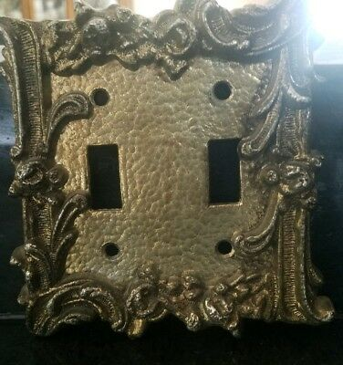VINTAGE ORNATE BRASS LIGHT SWITCH PLATE COVER DOUBLE TOGGLE ~ Floral with Swags