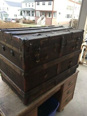 1800s ANTIQUE FLAT TOP SLAT STEAMER TRUNK STAGE COACH CHEST COFFEE TABLE Large