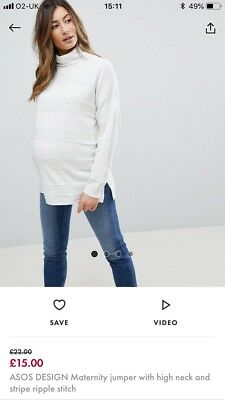 ASOS Maternity High Neck Jumper with Stripe Ripple - Size 10