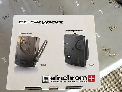Elinchrom EL-Skyport radio trigger and receiver, case, sync leads & original box