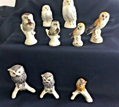 """Lot 9 Goebel Owl Figurines Collection -Various Owls & Years -  2 1/2"""" To 3 1/4"""""""