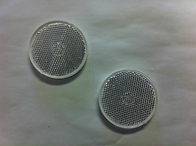 2 White/clr Round Reflectors, Self Adhesive, mounting on driveway post, etc.