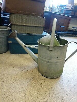 Vintage Old English 2 Gallon Galvanised Metal Watering Can With  Rose