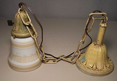 Vtg Art Deco Nouveau Ceiling Pendant Light Fixture Brass Shade Rewired USA O64