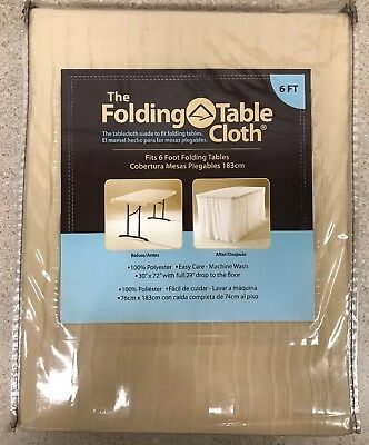 "NEW The Folding Table Cloth - 30"" x 72"" w/ Full 29"" Drop to the Floor -Champagne"