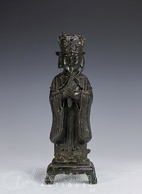 Large Antique Chinese Ming Dynasty Bronze Statue Of Standing Figure