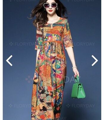 0d3f09cd6bab BNWT!! FLORYDAY FLORAL Summer Beach Day Dress Tunic A Line Midi Maxi ...
