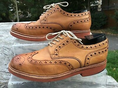 GRENSON Archie Shoes size 9 G UK Brogues Wing Tip Lace Up 43
