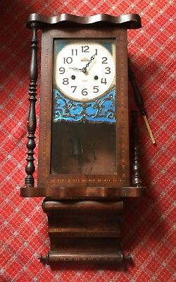 Antique Wall Clock Inlaid American USA Case Cased A/F Pendulum Key