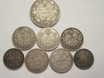 8 Canada Silver Coins, mixed dates & denominations incl. 1943 Newfoundland 5 c
