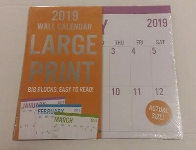2019 Large Print Wall Calendar Big Writing Spaces Easy Read 12-Month Full Size