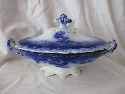 Johnson Bros antique flow blue covered oval bowl Clayton c.1900 England