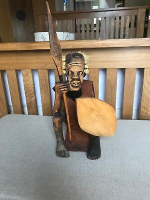 Vintage African Tribal Ethnic Art Wood Wooden Hand Carved Figurine Warrior