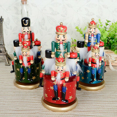 Music Box Christmas Walnut Soldiers Tabletop Nutcracker Soldier Musical Ornament