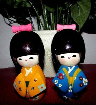 "Set 2 Vintage Japanese 5 1/2"" POSABLE HEAD Wooden Kokeshi Dolls Carved Geisha"