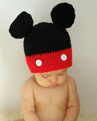 Crochet Mickey Mouse Hat Toddler Size Baby Photography Photos Red Black Disney