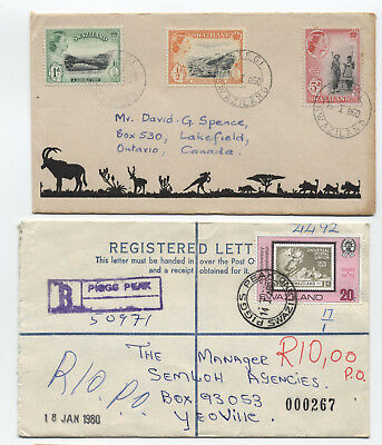 Swaziland 1960 cover to Canada and 1980 registered [L.151]
