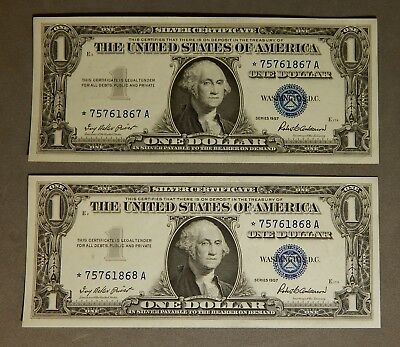 2 $1 1957 Consecutive Serial Number Silver Certificate Blue Seal Star Notes NR