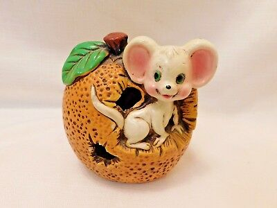 Cute Vintage Plaster(?) Still Coin Bank - Mouse in an Orange - Made in Japan